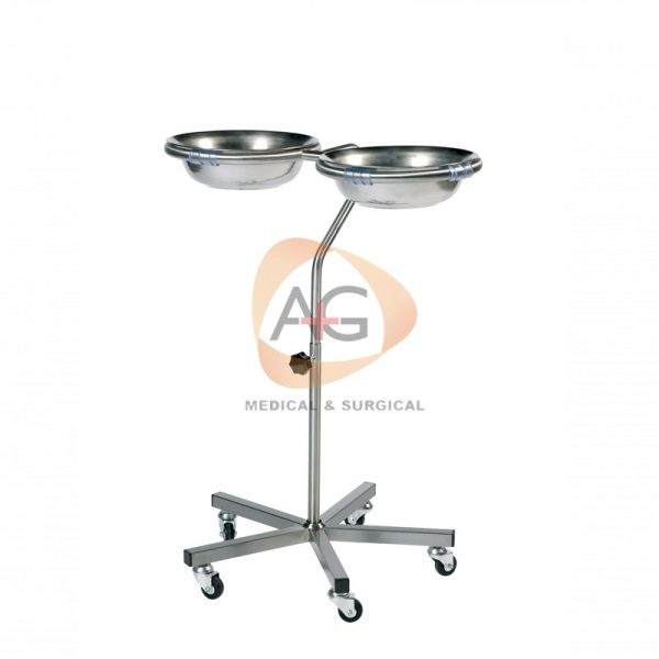 Double variable height bowl stand with 2 bowls